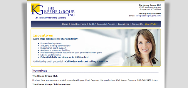 The Keene Group Inc. Subpage Design