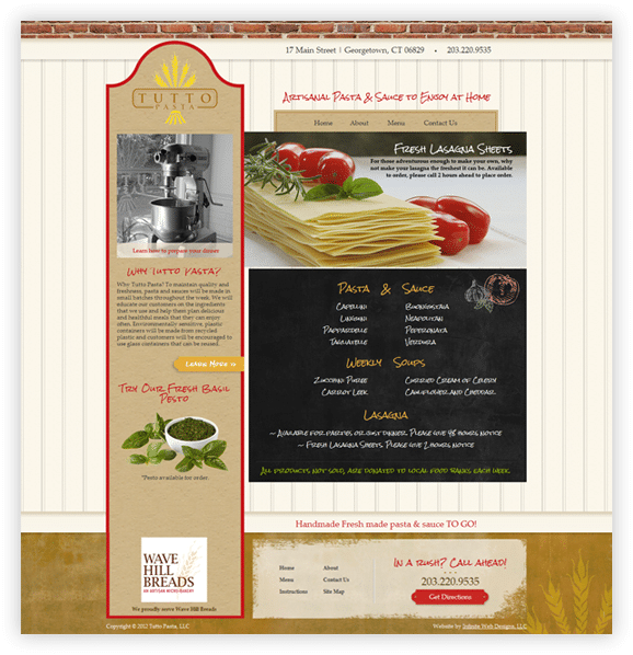 Tutto Pasta Website Design