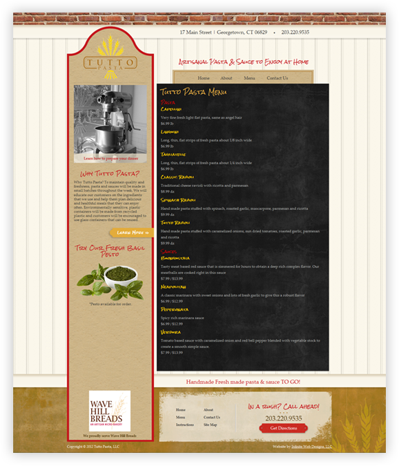 Tutto Pasta Website Design Subpage